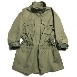 ⚜️ Olive Zip Utility Jacket Funnel Neck Medium